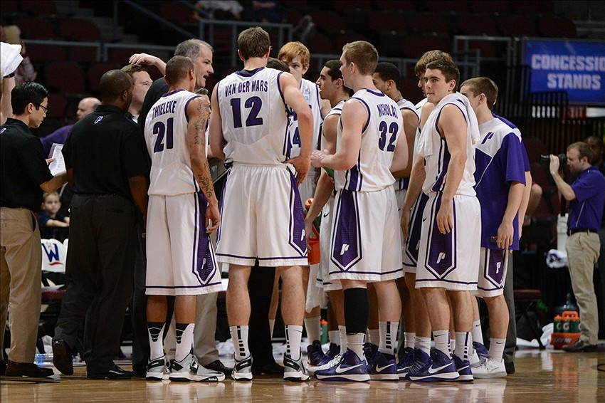 March 6, 2013; Las Vegas, NV, USA; Portland Pilots huddle against the Loyola Marymount Lions during the second half of the WCC Basketball Championships at Orleans Arena. Mandatory Credit: Kyle Terada-USA TODAY Sports