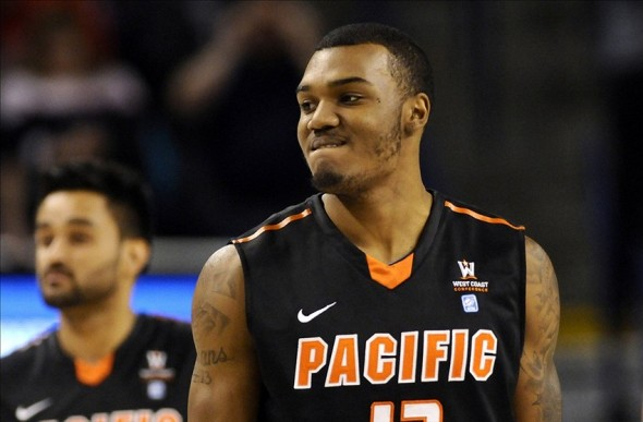 Jan 4, 2014; Spokane, WA, USA; Pacific Tigers forward Khalil Kelley (13) react after being called for a foul during a game against the Gonzaga Bulldogs during the first half at McCarthey Athletic Center. Mandatory Credit: James Snook-USA TODAY Sports