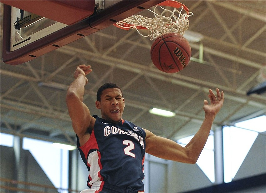 Jan 18, 2014; Los Angeles, CA, USA; Gonzaga Bulldogs forward Angel Nunez (2) dunks in the first half against the Loyola Marymount Lions at Gersten Pavilion. Gonzaga defeated Loyola Marymount 82-72. Mandatory Credit: Andrew Fielding-USA TODAY Sports