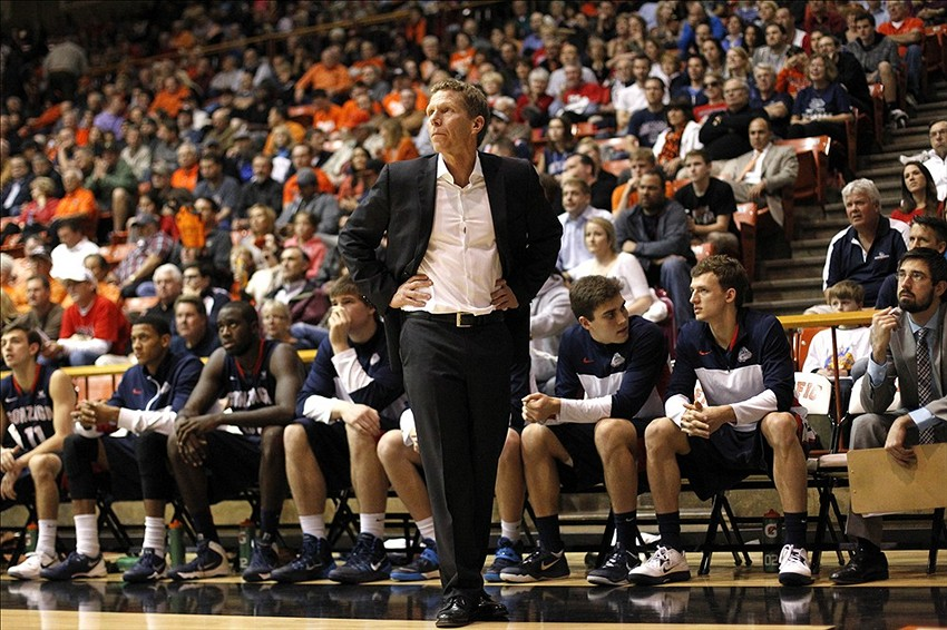 Feb 27, 2014; Stockton, CA, USA; Gonzaga Bulldogs head coach Mark Few watches action against the Pacific Tigers in the second half at Alex G. Spanos Center. The Bulldogs defeated the Tigers 70-53. Mandatory Credit: Cary Edmondson-USA TODAY Sports