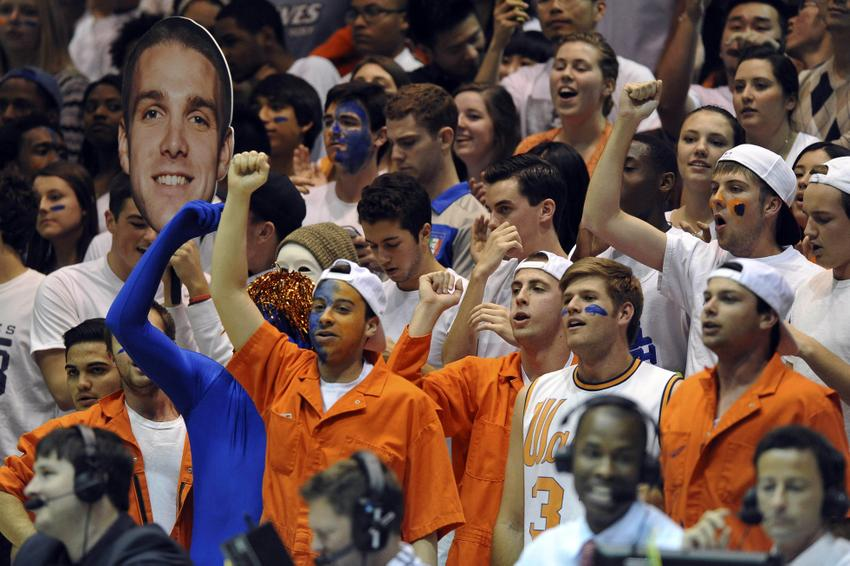 Jan 16, 2014; Malibu, CA, USA; Pepperdine Waves fans during the game against the Gonzaga Bulldogs at Firestone Fieldhouse. Gonzaga defeated Pepperdine 70-53. Mandatory Credit: Andrew Fielding-USA TODAY Sports