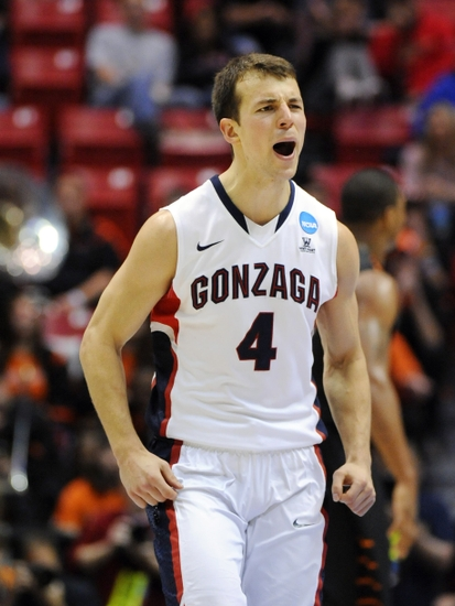 Mar 21, 2014; San Diego, CA, USA; Gonzaga Bulldogs guard Kevin Pangos (4) reacts after making a basket against the Oklahoma State Cowboys in the first half of a men