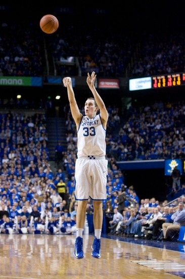 Jan 15, 2013; Lexington, KY, USA; Kentucky Wildcats forward Kyle Wiltjer (33) shoots the ball against the Tennessee Volunteers in the first half at Rupp Arena. Kentucky defeated Tennessee 75-65. Mandatory Credit: Mark Zerof-USA TODAY Sports