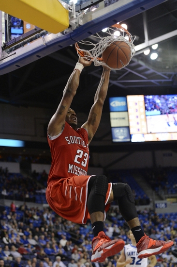 Nov 8, 2013; St. Louis, MO, USA; Southeast Missouri State Redhawks guard/forward Jarekious Bradley (23) dunks the ball against the Saint Louis Billikens during the second half at Chaifetz Arena. The Billikens defeat the Redhawks 87-64. Mandatory Credit: Jasen Vinlove-USA TODAY Sports