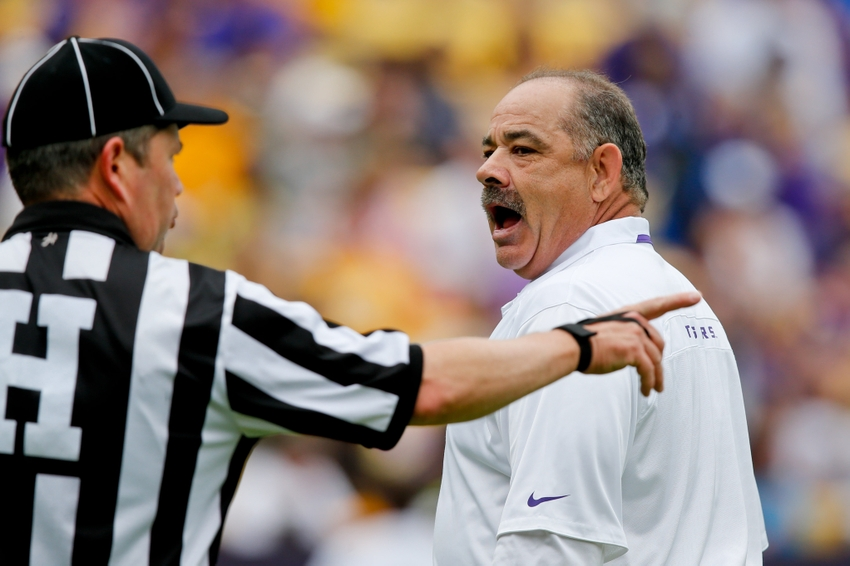 Apr 5, 2014; Baton Rouge, LA, USA; LSU Tigers defensive coordinator John Chavis (R) argues with an official during the 2014 spring game at Tiger Stadium. Mandatory Credit: Derick E. Hingle-USA TODAY Sports