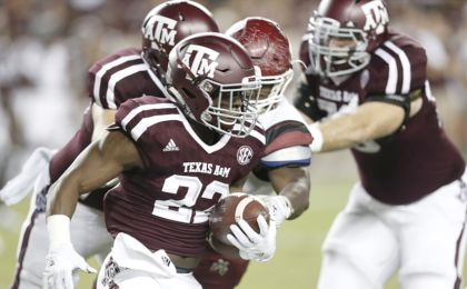 Oct 29, 2016; College Station, TX, USA; Texas A&M Aggies running back Kwame Etwi (22) carries the ball against the New Mexico State Aggies in the second half at Kyle Field. The A&M Aggies won 52-10. Mandatory Credit: Thomas B. Shea-USA TODAY Sports