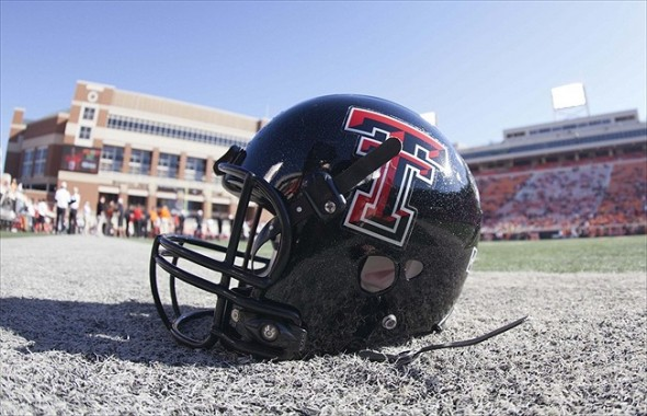 Nov 17, 2012; Stillwater OK, USA; Texas Tech Red Raiders helmet before the game against the Oklahoma State Cowboys at Boone Pickens Stadium. Mandatory Credit: Richard Rowe-USA TODAY Sports