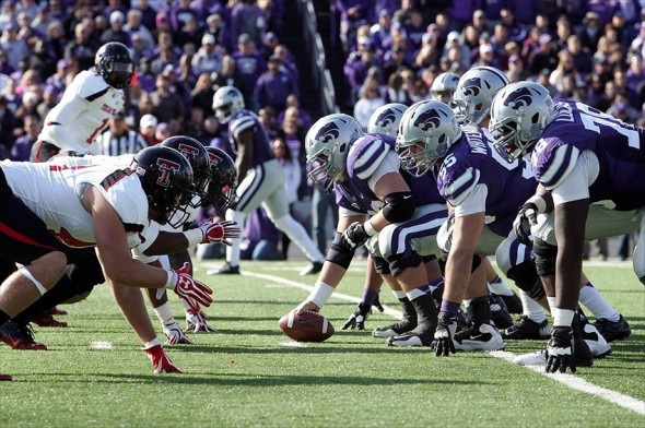Oct 27, 2012; Manhattan, KS, USA; The Kansas State Wildcats line up against the Texas Tech Red Raiders during the first half at Bill Snyder Family Stadium. Mandatory Credit: Scott Sewell-USA TODAY Sports