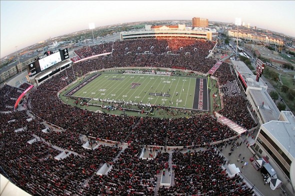 Nov 2, 2013; Lubbock, TX, USA; A general overview of Jones AT&T Stadium during the game between the Texas Tech Red Raiders and the Oklahoma State Cowboys. Mandatory Credit: Michael C. Johnson-USA TODAY Sports