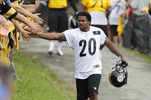 Jul 27, 2013; Latrobe, PA, USA; Pittsburgh Steelers running back Baron Batch (20) greets fans on the way to the practice fields during training camp at Saint Vincent College. Mandatory Credit: Charles LeClaire-USA TODAY Sports