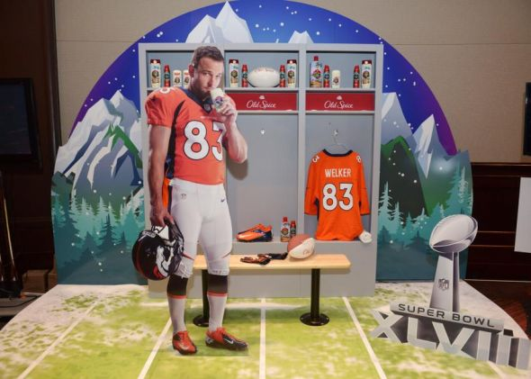 Jan 28, 2014; New York, NY, USA; General view of Old Spice display featuring cutout of Denver Broncos receiver Wes Welker (not pictured) at the Super Bowl XLVIII media center at the Sheraton New York, Times Square. Mandatory Credit: Kirby Lee-USA TODAY Sports