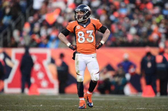Dec 8, 2013; Denver, CO, USA; Denver Broncos wide receiver Wes Welker (83) in the second quarter against the Tennessee Titans at Sports Authority Field at Mile High. Mandatory Credit: Ron Chenoy-USA TODAY Sports