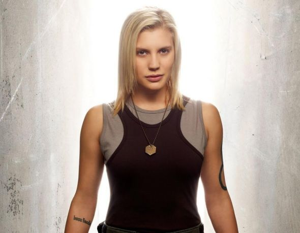 Katee Sackhoff as Starbuck in Battlestar Galactica