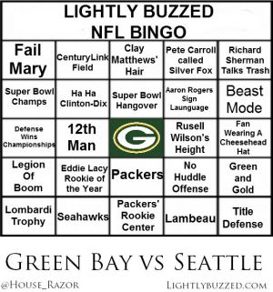 NFL Week 1 Bingo Greenbay v Seattle