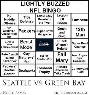 NFL Week 1 Bingo Seattle vs Green Bay