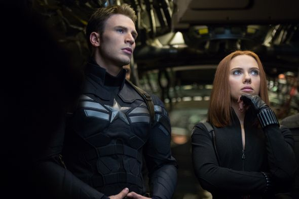 """Marvel's Captain America: The Winter Soldier""..L to R: Captain America/Steve Rogers (Chris Evans) and Black Widow/Natasha Romanoff (Scarlett Johansson) © 2014 Marvel. All Rights Reserved."