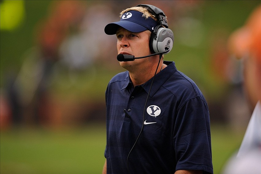 Aug 31, 2013; Charlottesville, VA, USA; Brigham Young Cougars head coach Bronco Mendenhall against the Virginia Cavaliers during the first half at Scott Stadium. Mandatory Credit: Rafael Suanes-USA TODAY Sports