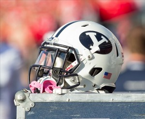 Nov 9, 2013; Madison, WI, USA; A Brigham Young Cougars football helmet during the game against the Wisconsin Badgers at Camp Randall Stadium. Wisconsin won 27-17. Mandatory Credit: Jeff Hanisch-USA TODAY Sports