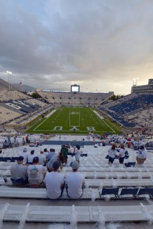 Aug 30, 2012; Provo, UT, USA; A general view of Lavell Edwards Stadium before a game between the Washington State Cougars and Brigham Young Cougars. Mandatory Credit: Jake Roth-USA TODAY Sports