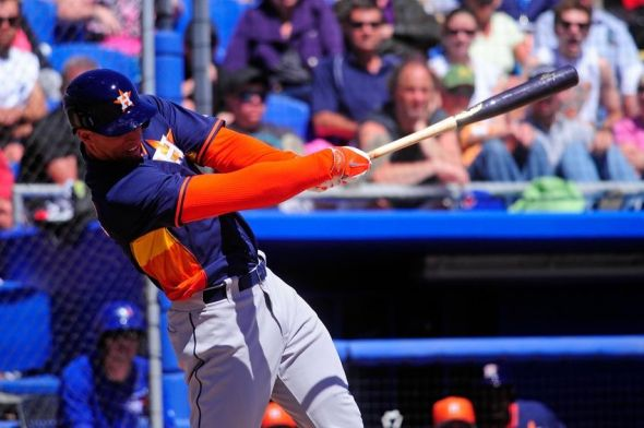 Mar 13, 2014; Dunedin, FL, USA; Houston Astros center fielder George Springer (79) bats in the third inning against the Toronto Blue Jays at Florida Auto Exchange Park. Mandatory Credit: David Manning-USA TODAY Sports