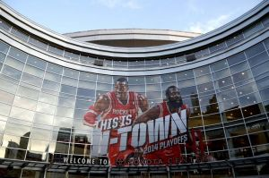 Apr 30, 2014; Houston, TX, USA; An exterior view of the Toyota Center prior to game five of the first round of the 2014 NBA Playoffs between the Portland Trail Blazers and the Houston Rockets. Mandatory Credit: Andrew Richardson-USA TODAY Sports