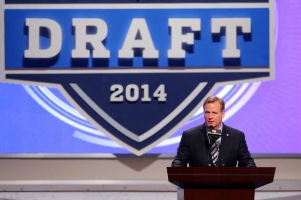 May 8, 2014; New York, NY, USA; NFL commissioner Roger Goodell begins the draft and puts the Houston Texans on the clock at the start of the 2014 NFL draft at Radio City Music Hall. Mandatory Credit: Brad Penner-USA TODAY Sports