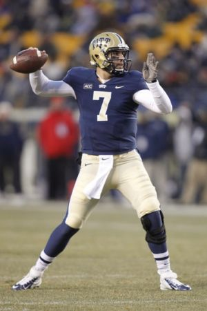 Nov 29, 2013; Pittsburgh, PA, USA; Pittsburgh Panthers quarterback Tom Savage (7) passes against the Miami Hurricanes during the second quarter at Heinz Field. Mandatory Credit: Charles LeClaire-USA TODAY Sports