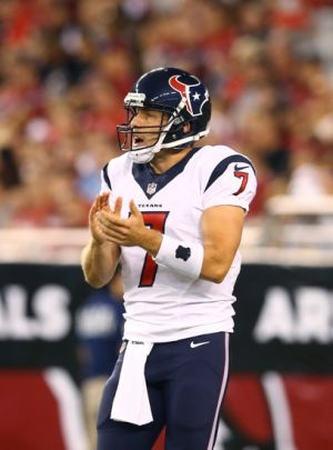 Aug 9, 2014; Glendale, AZ, USA; Houston Texans quarterback Case Keenum (7) against the Arizona Cardinals during a preseason game at University of Phoenix Stadium. Mandatory Credit: Mark J. Rebilas-USA TODAY Sports