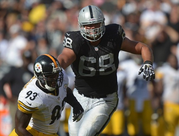 Sep 23, 2012; Oakland, CA, USA; Oakland Raiders tackle Jared Veldheer (68) defends against Pittsburgh Steelers linebacker Jason Worilds (93) at the O.co Coliseum. The Raiders defeated the Steelers 34-31. Mandatory Credit: Kirby Lee/Image of Sport-USA TODAY Sports