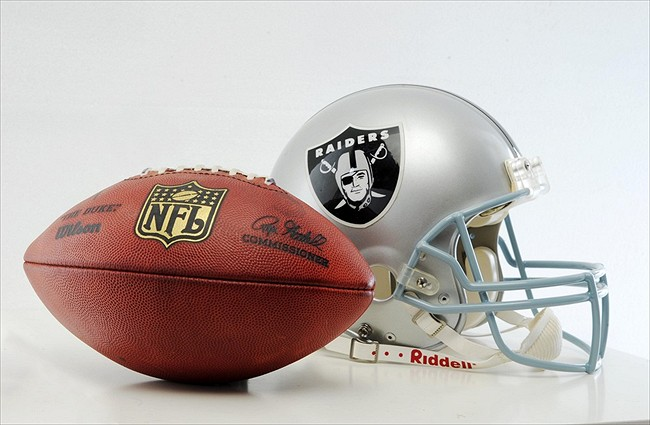 Oct 2, 2011; Oakland, CA, USA; General view of an Oakland Raiders helmet and NFL football before the game against the New England Patriots at the O.co Coliseum. Mandatory Credit: Kirby Lee/Image of Sport-USA TODAY Sports
