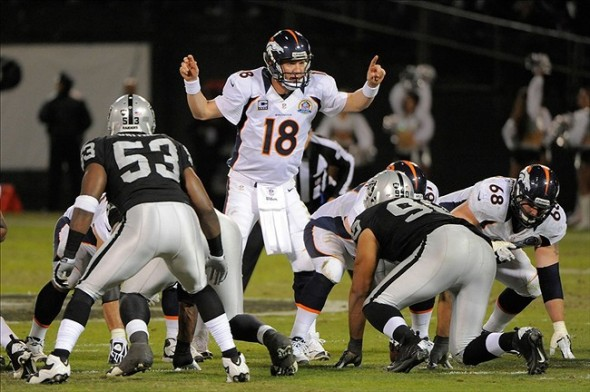 Dec 6, 2012; Oakland, CA, USA; Denver Broncos quarterback Peyton Manning (18) calls a cadence at the line of scrimmage during the third quarter against the Oakland Raiders at O.co Coliseum. The Broncos defeated the Raiders 26-13. Mandatory Credit: Kyle Terada-USA TODAY Sports