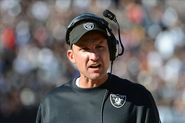 Sep 29, 2013; Oakland, CA, USA; Oakland Raiders head coach Dennis Allen watches from the sideline against the Washington Redskins during the fourth quarter at O.co Coliseum. The Redskins defeated the Raiders 24-14. Mandatory Credit: Kyle Terada-USA TODAY Sports