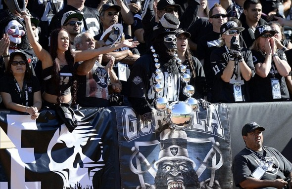 Sep 15, 2013; Oakland, CA, USA; Oakland Raiders fans watch the game from the Black Hole during the fourth quarter against the Jacksonville Jaguars at O.co Coliseum. Oakland won 19-9. Mandatory Credit: Bob Stanton-USA TODAY Sports