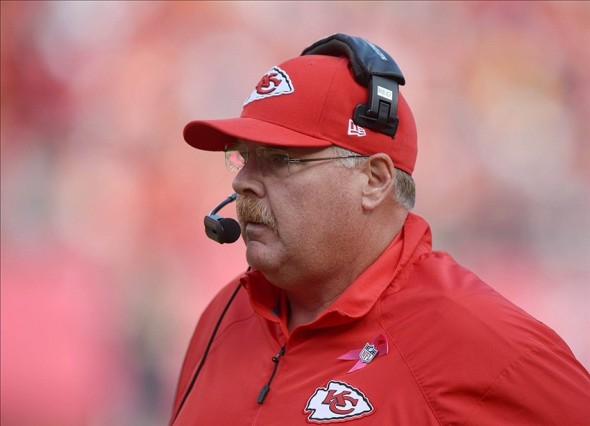 Oct 20, 2013; Kansas City, MO, USA; Kansas City Chiefs coach Andy Reid during the game against the Houston Texans at Arrowhead Stadium. Mandatory Credit: Kirby Lee-USA TODAY Sports