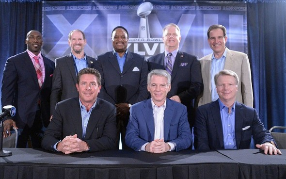 Jan 29, 2013, New Orleans, LA, USA; CBS Sports broadcast team poses at Super Bowl XLVII press conference at the New Orleans Ernest N. Morial Convention Center. Front row: Dan Marino (left), Sean McManus (center) and Phil Simms. Back row (from left) Shannon Sharpe and Bill Cowher and James Brown and Boomer Esiason and Jim Nantz. Mandatory Credit: Kirby Lee-USA TODAY Sports