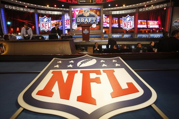 Apr 26, 2012; New York, NY, USA; A general view of the NFL shield logo before the 2012 NFL Draft at Radio City Music Hall. Mandatory Credit: Jerry Lai-USA TODAY Sports