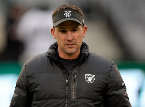 Dec 8, 2013; East Rutherford, NJ, USA; Oakland Raiders head coach Dennis Allen on the field before the game against New York Jets at MetLife Stadium. Mandatory Credit: Robert Deutsch-USA TODAY Sports