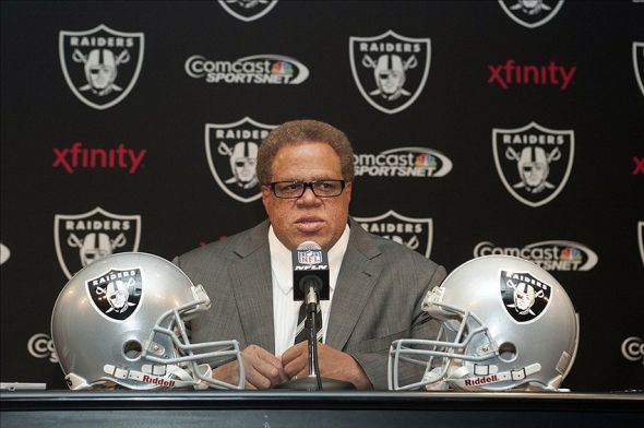 Apr 26, 2013; Alameda, CA, USA; Oakland Raiders general manager Reggie McKenzie during the 2013 draft press conference at Oakland Raiders headquarters. Mandatory Credit: Ed Szczepanski-USA TODAY Sports