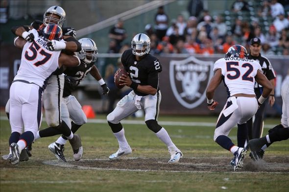 Dec 29, 2013; Oakland, CA, USA; Oakland Raiders quarterback Terrelle Pryor (2) controls the ball against the Denver Broncos during the fourth quarter at O.co Coliseum. The Denver Broncos defeated the Oakland Raiders 34-14. Mandatory Credit: Kelley L Cox-USA TODAY Sports