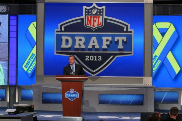 Apr 25, 2013; New York, NY, USA; NFL commissioner Roger Goodell recognizes West, Texas and Boston Marathon victims and first responders during the 2013 NFL Draft at Radio City Music Hall. Mandatory Credit: Brad Penner-USA TODAY Sports
