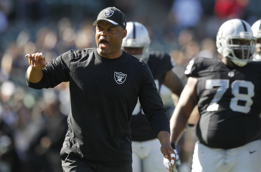 Nov 1, 2015; Oakland, CA, USA; Oakland Raiders defensive coordinator Ken Norton Jr. encourages the defense before the start of the game against the New York Jets at O.co Coliseum. Mandatory Credit: Cary Edmondson-USA TODAY Sports