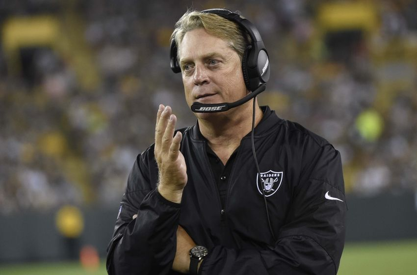 Aug 18, 2016; Green Bay, WI, USA; Oakland Raiders head coach Jack Del Rio calls a play in the third quarter during the game against the Green Bay Packers at Lambeau Field. Mandatory Credit: Benny Sieu-USA TODAY Sports