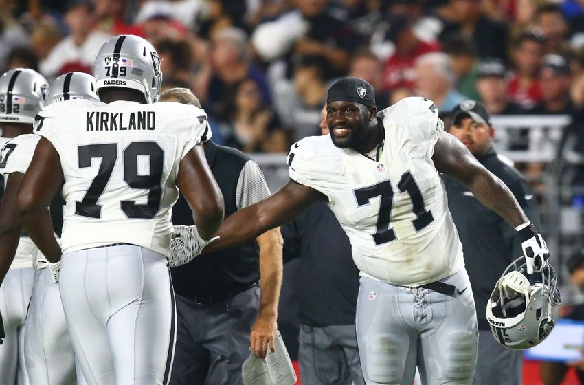 Aug 12, 2016; Glendale, AZ, USA; Oakland Raiders tackle Menelik Watson (71) and guard Denver Kirkland (79) against the Arizona Cardinals during a preseason game at University of Phoenix Stadium. Mandatory Credit: Mark J. Rebilas-USA TODAY Sports
