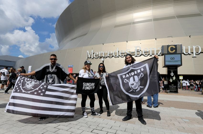 Sep 11, 2016; New Orleans, LA, USA; Oakland Raiders fans pose for a photo prior to the Raiders