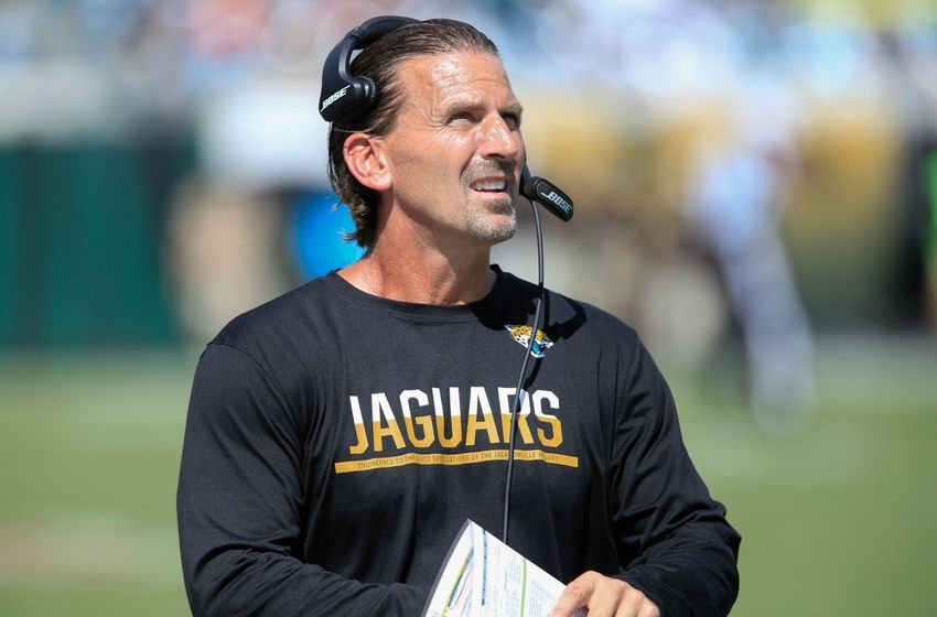 Sep 25, 2016; Jacksonville, FL, USA; Jacksonville Jaguars offensive coordinator Greg Olson on the bench during the second half of a football game against the Baltimore Ravens at EverBank FieldThe Baltimore Ravens won 19-17. Mandatory Credit: Reinhold Matay-USA TODAY Sports