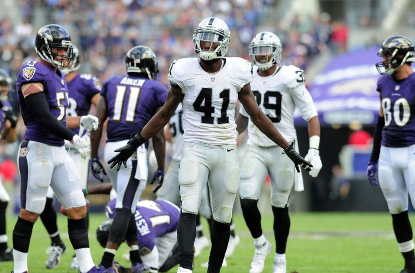 Oct 2, 2016; Baltimore, MD, USA; Oakland Raiders safety Brynden Trawick (41) reacts after a tackle in the fourth quarter against the Baltimore Ravens at M&T Bank Stadium. Mandatory Credit: Evan Habeeb-USA TODAY Sports