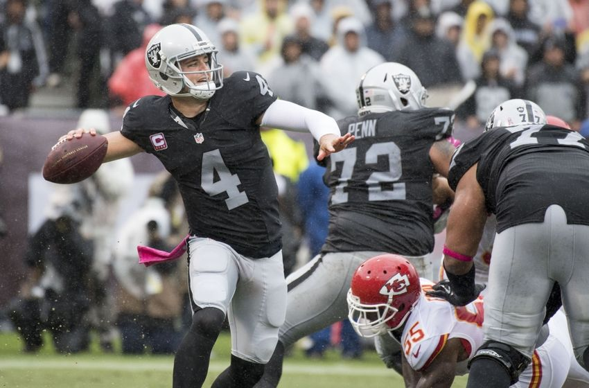 October 16, 2016; Oakland, CA, USA; Oakland Raiders quarterback Derek Carr (4) passes the football against the Kansas City Chiefs during the first quarter at Oakland Coliseum. Mandatory Credit: Kyle Terada-USA TODAY Sports