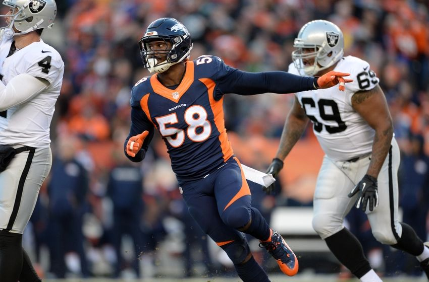 Dec 13, 2015; Denver, CO, USA; Denver Broncos outside linebacker Von Miller (58) during the third quarter against the Oakland Raiders at Sports Authority Field at Mile High. Mandatory Credit: Ron Chenoy-USA TODAY Sports