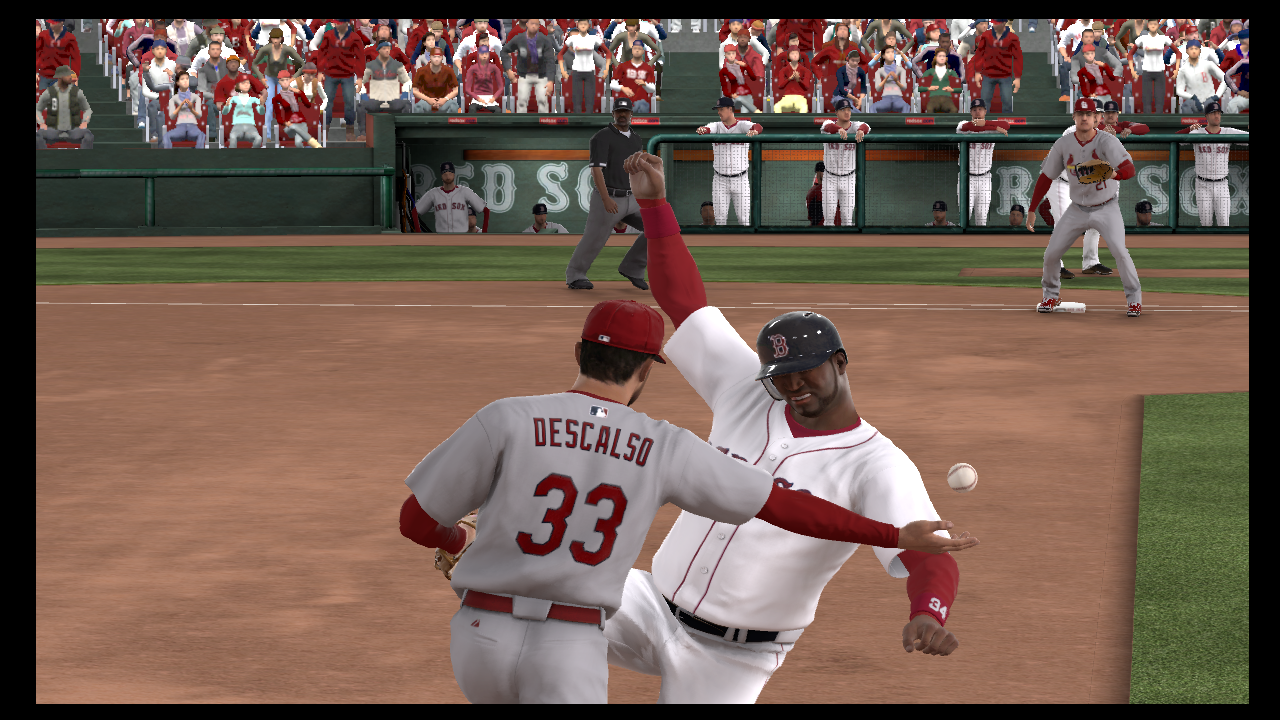 descalso ortiz collision game 2 mlb 13 the show world series