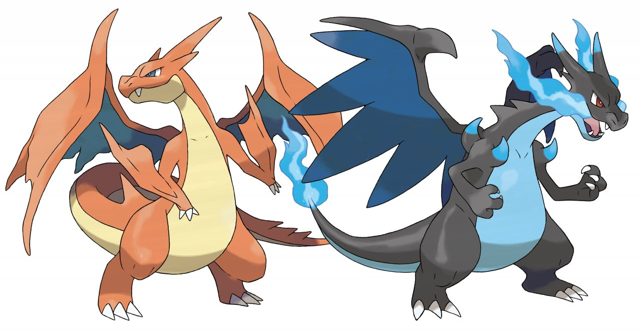 Charizard's Mega-Evolution stage in X (Right) and Y (Left)